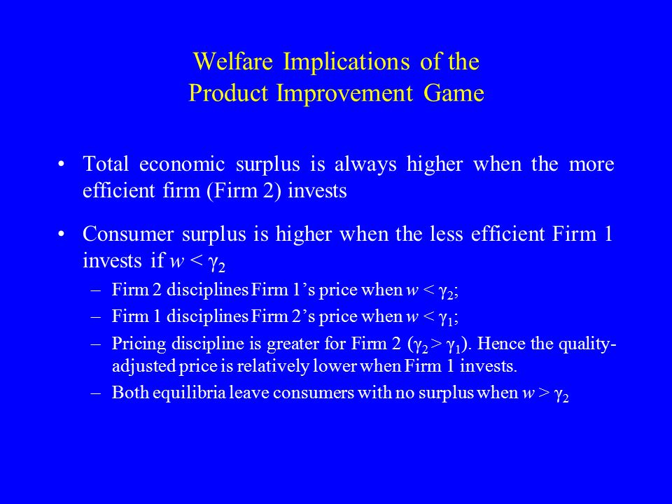 Welfare Implications of the Product Improvement Game Total economic surplus is always higher when the more efficient firm (Firm 2) invests Consumer surplus is higher when the less efficient Firm 1 invests if w < γ 2 –Firm 2 disciplines Firm 1's price when w < γ 2 ; –Firm 1 disciplines Firm 2's price when w < γ 1 ; –Pricing discipline is greater for Firm 2 (γ 2 > γ 1 ).