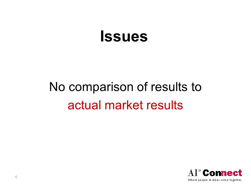Issues No comparison of results to actual market results 6