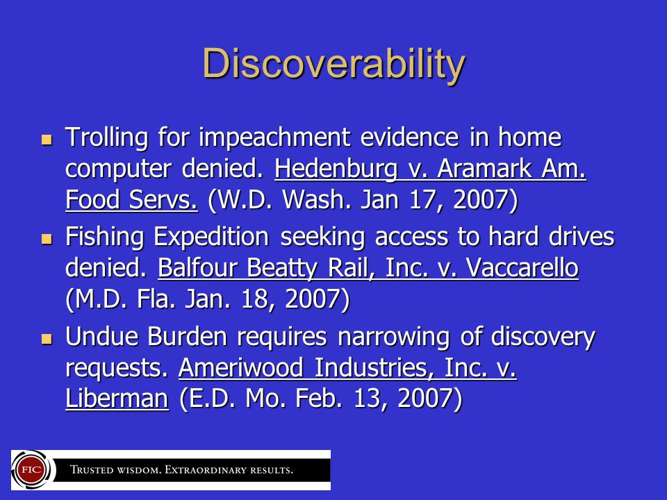 Discoverability Trolling for impeachment evidence in home computer denied.