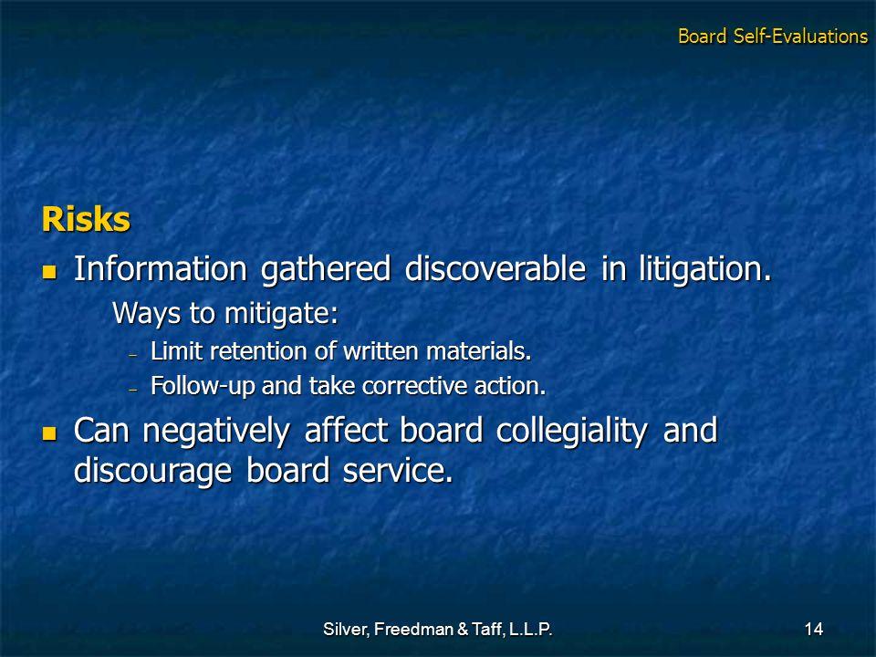 Silver, Freedman & Taff, L.L.P.14 Risks Information gathered discoverable in litigation. Information gathered discoverable in litigation. Ways to miti
