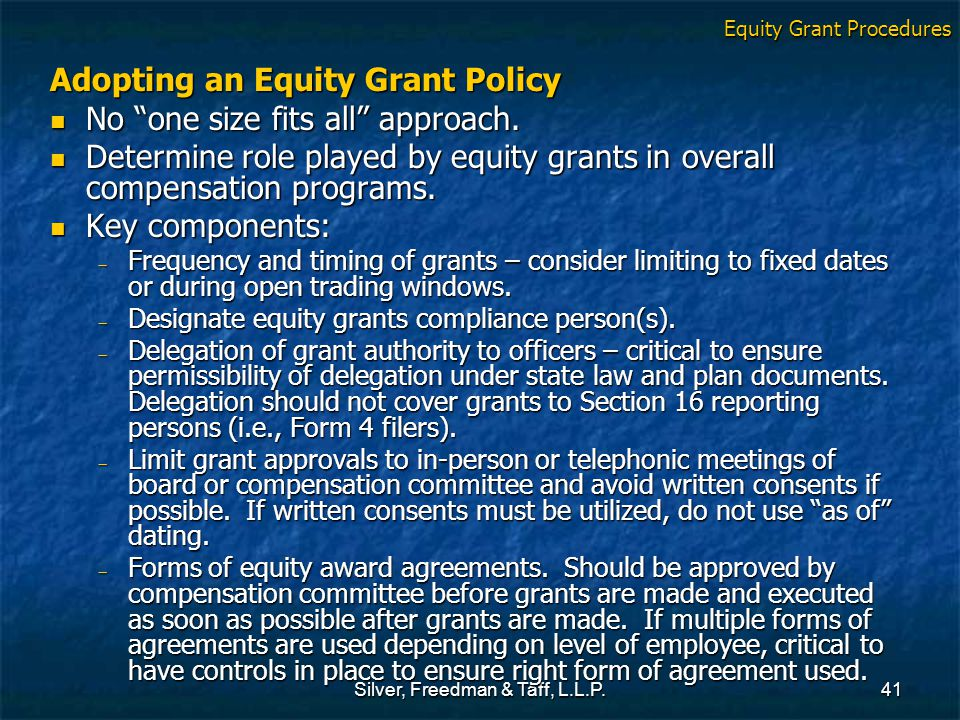 Silver, Freedman & Taff, L.L.P.41 Adopting an Equity Grant Policy No one size fits all approach.
