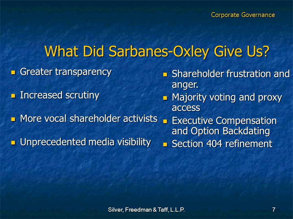 Silver, Freedman & Taff, L.L.P.7 What Did Sarbanes-Oxley Give Us? What Did Sarbanes-Oxley Give Us? Greater transparency Greater transparency Increased