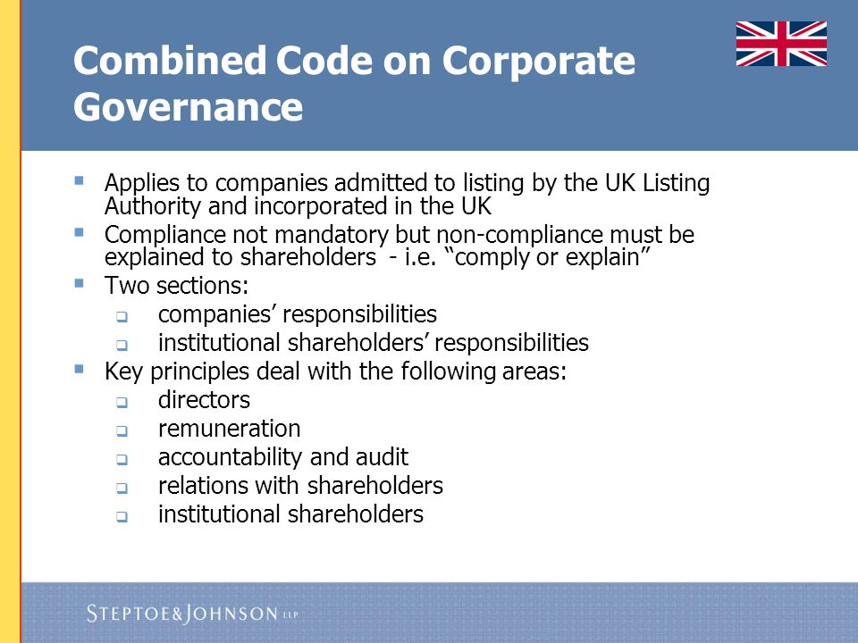 Corporate Governance - US  US case law appears to be swinging back in favour of boards and deference to their business judgment and sound governance principles  The Disney decisions  Underlying action: board approval of Ovitz termination/ severance agreement ($140 million for 12 months)  Negligence and personal liability must be predicated on failure to act in good faith: i.e., where there is an intentional dereliction of duty and conscious disregard for one's responsibilities In re The Walt Disney Co.