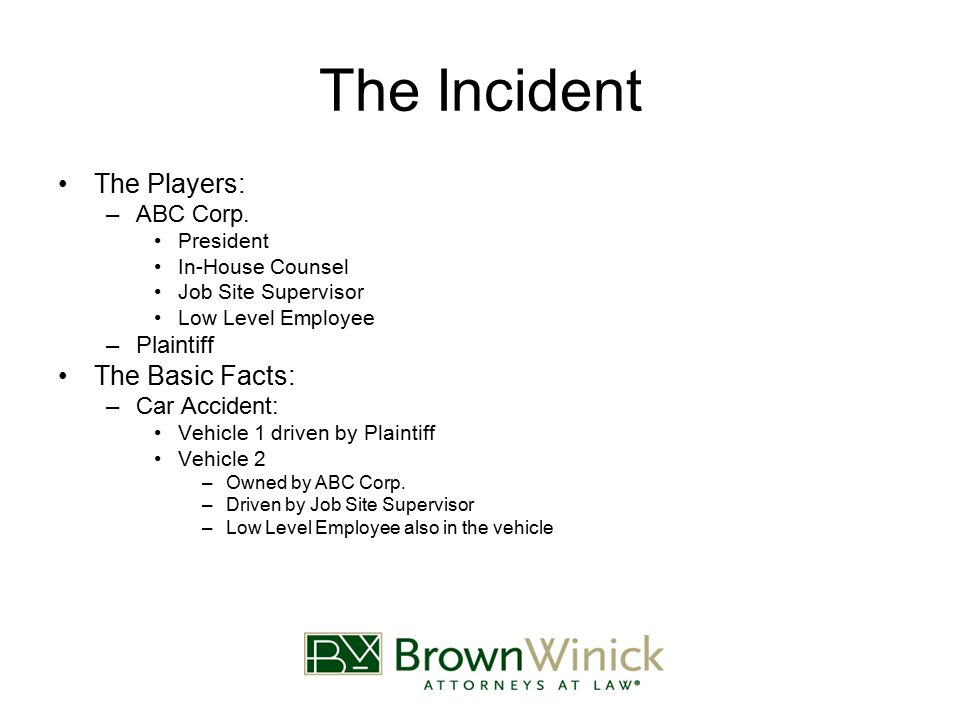 The Incident The Players: –ABC Corp.