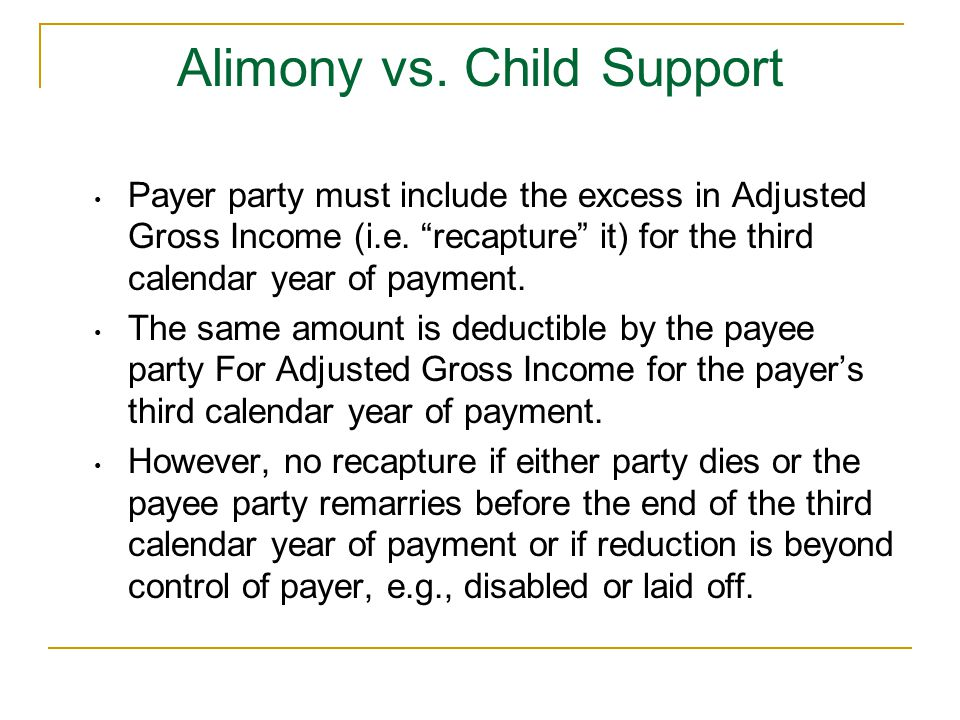 Payer party must include the excess in Adjusted Gross Income (i.e.