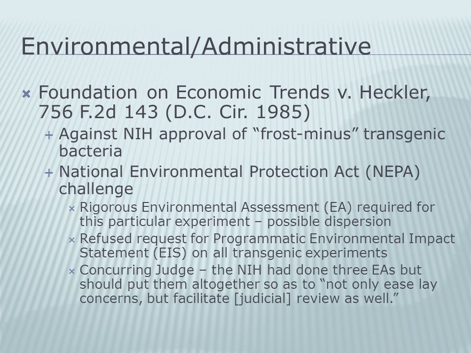 Environmental/Administrative  Foundation on Economic Trends v.