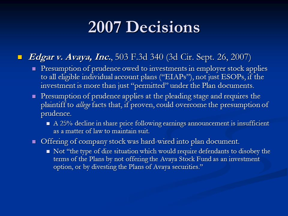 2007 Decisions Edgar v. Avaya, Inc., 503 F.3d 340 (3d Cir.