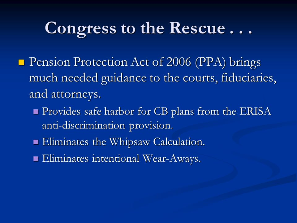 Congress to the Rescue...