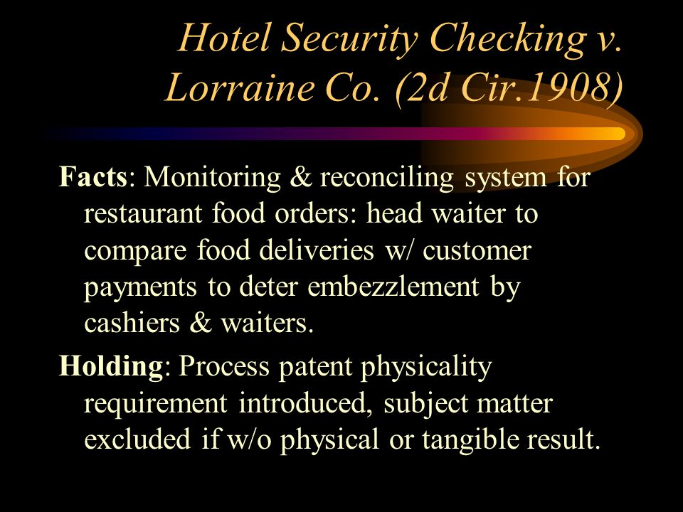 Hotel Security Checking v. Lorraine Co.