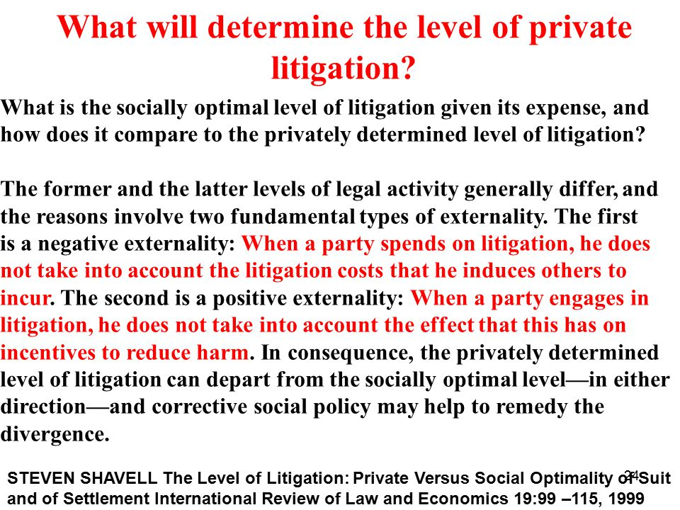 24 What will determine the level of private litigation.