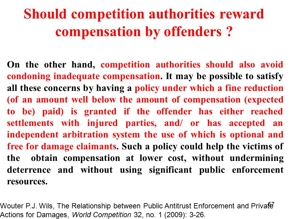 57 Should competition authorities reward compensation by offenders .