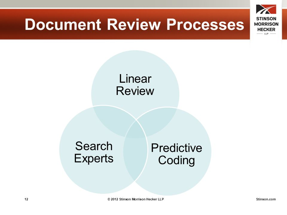 12© 2012 Stinson Morrison Hecker LLPStinson.com Document Review Processes Linear Review Predictive Coding Search Experts