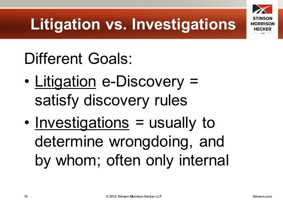 15© 2012 Stinson Morrison Hecker LLPStinson.com Litigation vs.
