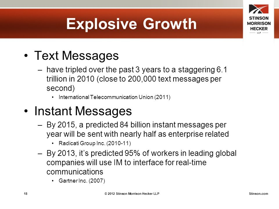 18© 2012 Stinson Morrison Hecker LLPStinson.com Explosive Growth Text Messages –have tripled over the past 3 years to a staggering 6.1 trillion in 2010 (close to 200,000 text messages per second) International Telecommunication Union (2011) Instant Messages –By 2015, a predicted 84 billion instant messages per year will be sent with nearly half as enterprise related Radicati Group Inc.