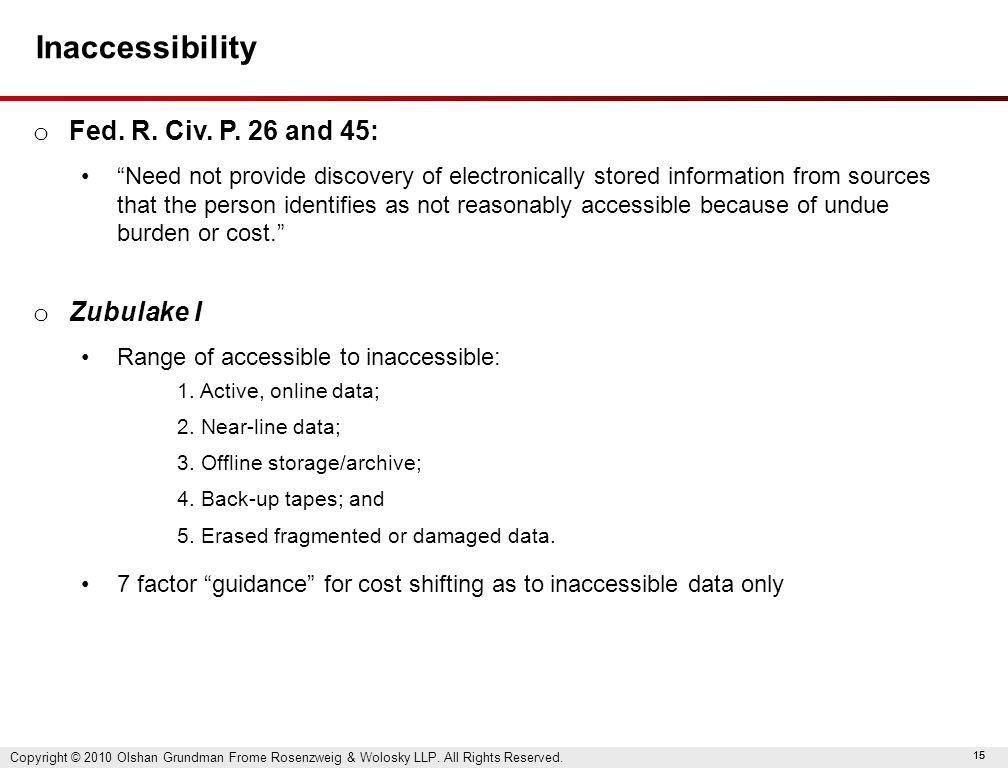 15 Inaccessibility o Fed. R. Civ. P.