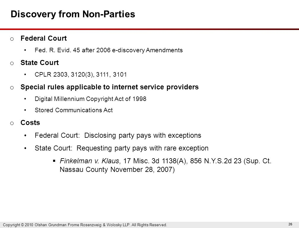 26 Discovery from Non-Parties o Federal Court Fed.