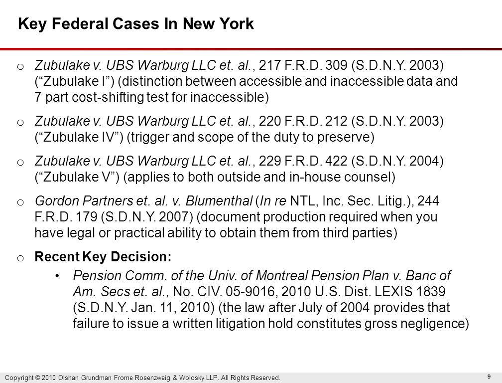 99 Key Federal Cases In New York o Zubulake v. UBS Warburg LLC et.