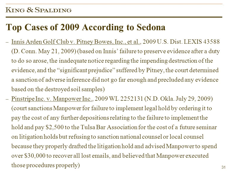 31 Top Cases of 2009 According to Sedona – Innis Arden Golf Club v.
