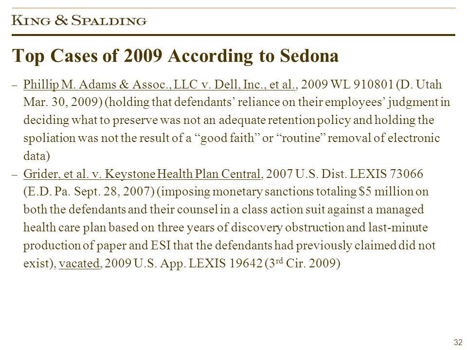 32 Top Cases of 2009 According to Sedona – Phillip M.