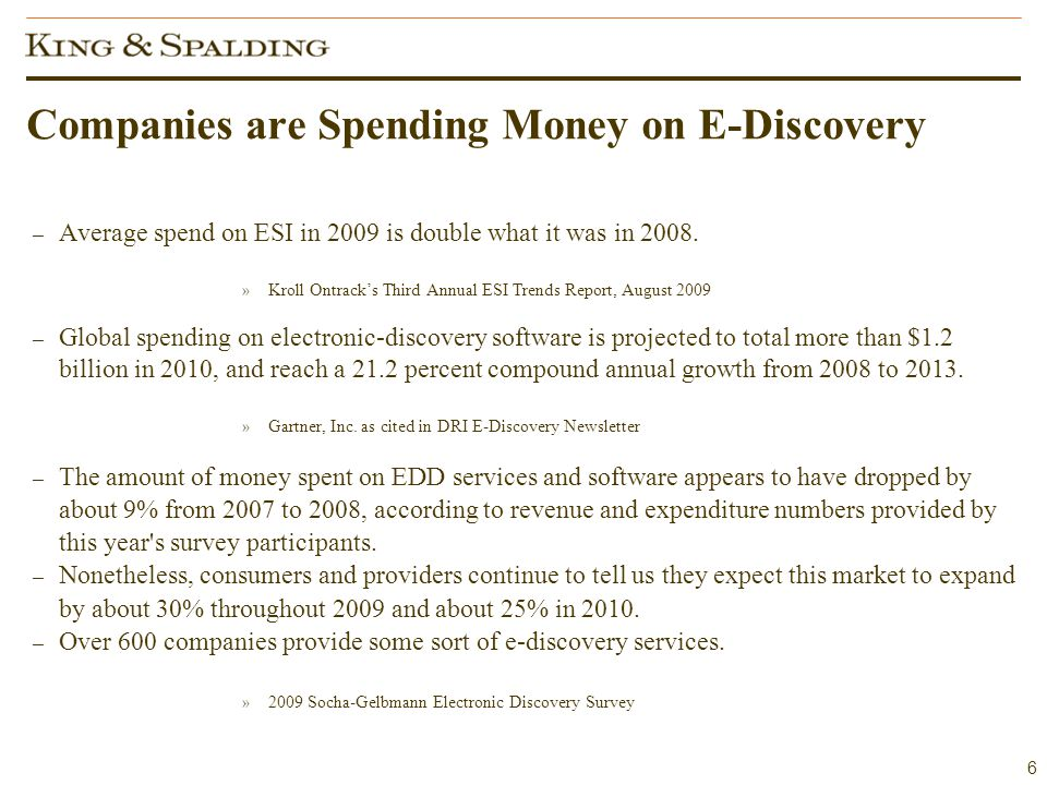6 Companies are Spending Money on E-Discovery – Average spend on ESI in 2009 is double what it was in 2008.