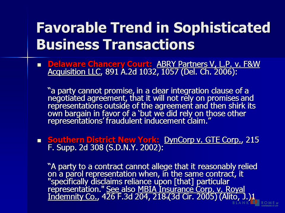 70 Favorable Trend in Sophisticated Business Transactions Delaware Chancery Court: ABRY Partners V, L.P.
