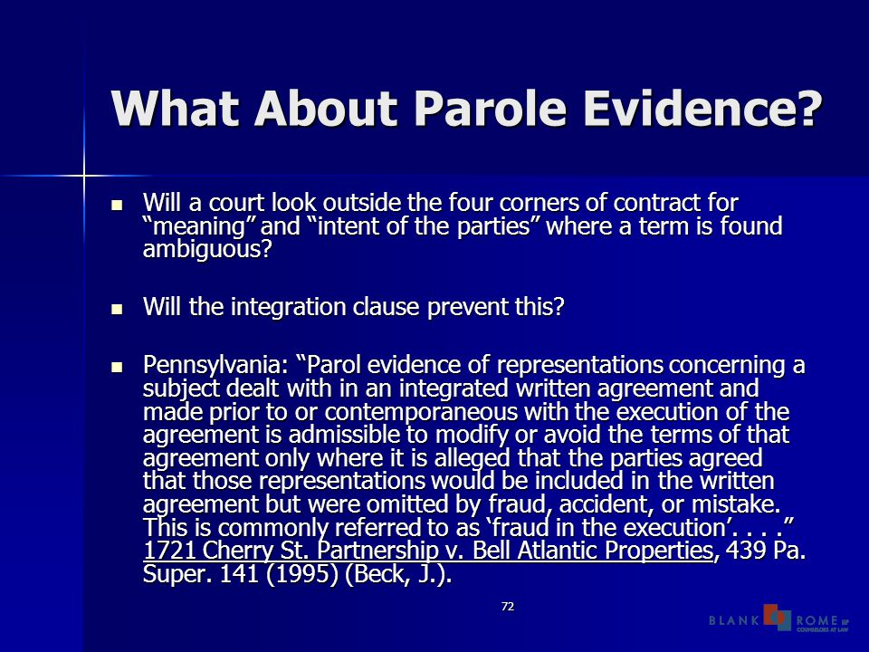 72 What About Parole Evidence.