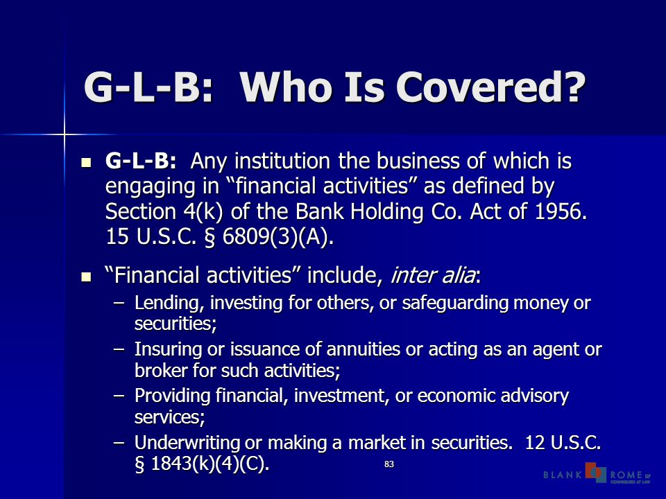 83 G-L-B: Who Is Covered.