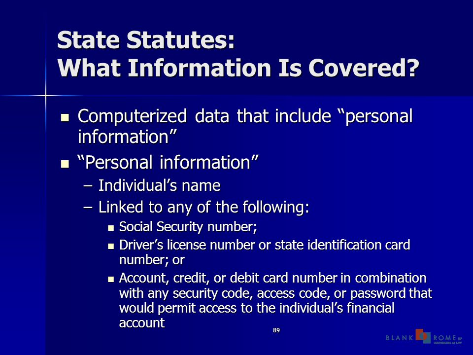 89 State Statutes: What Information Is Covered.