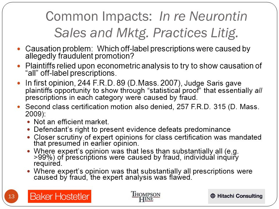 Common Impacts: In re Neurontin Sales and Mktg. Practices Litig.