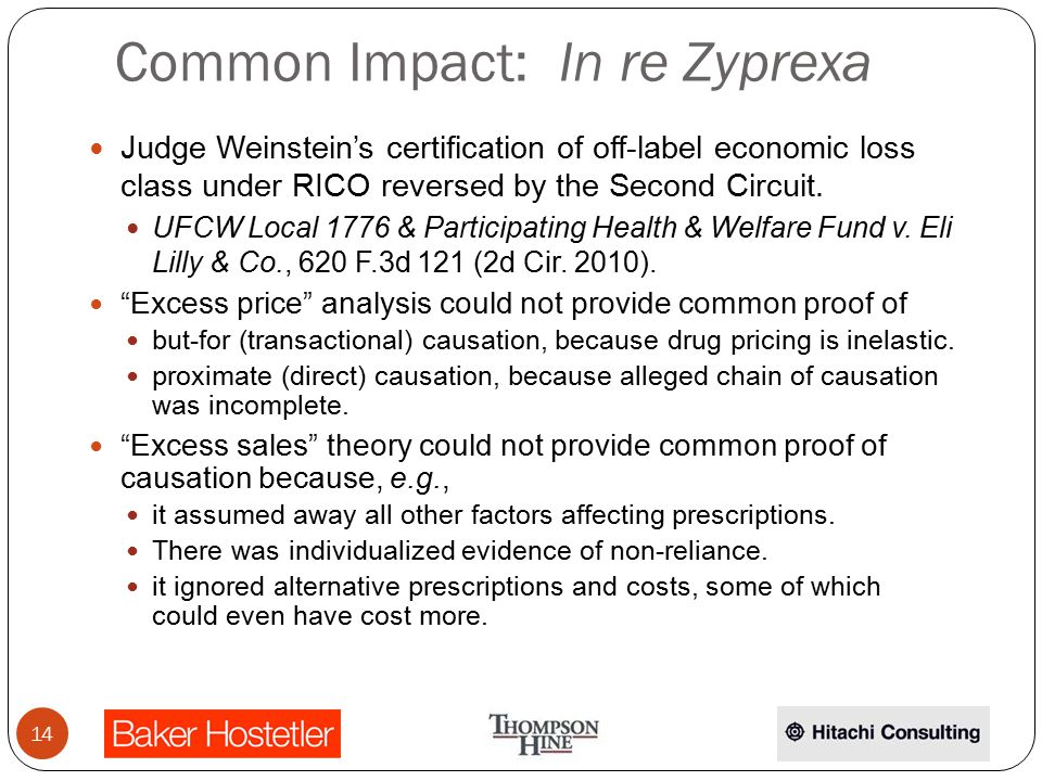 Common Impact: In re Zyprexa Judge Weinstein's certification of off-label economic loss class under RICO reversed by the Second Circuit.