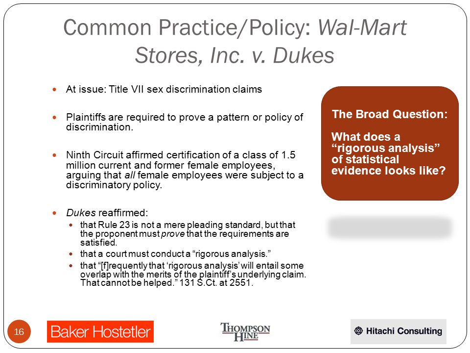 Common Practice/Policy: Wal-Mart Stores, Inc. v.