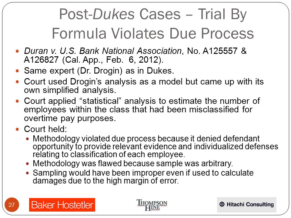 Post-Dukes Cases – Trial By Formula Violates Due Process Duran v.