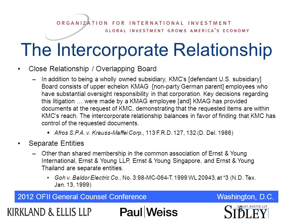 2012 OFII General Counsel Conference Washington, D.C. 6 The Intercorporate Relationship Close Relationship / Overlapping Board –In addition to being a