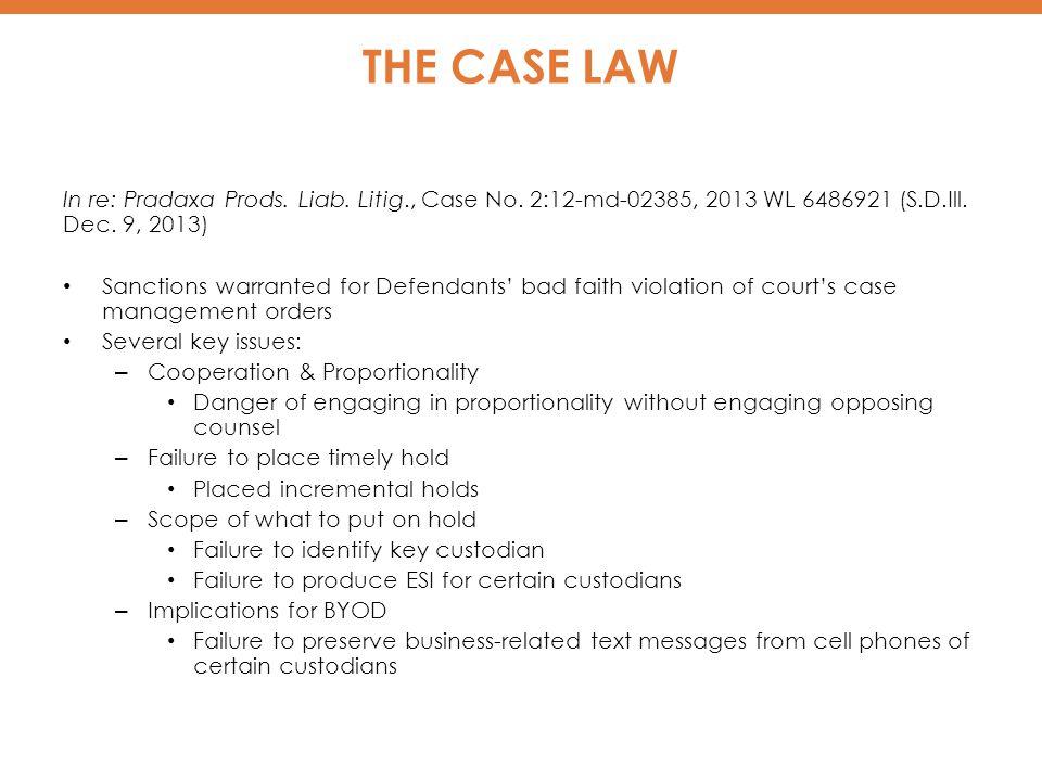 THE CASE LAW In re: Pradaxa Prods.Liab. Litig., Case No.