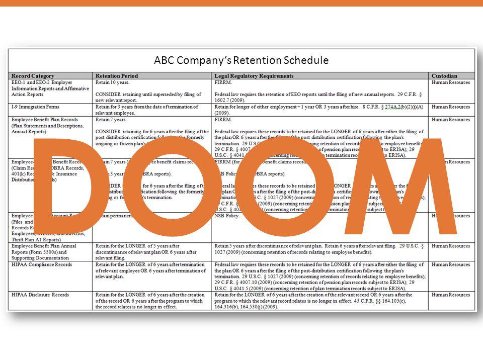 ABC Company's Retention Schedule DOOM