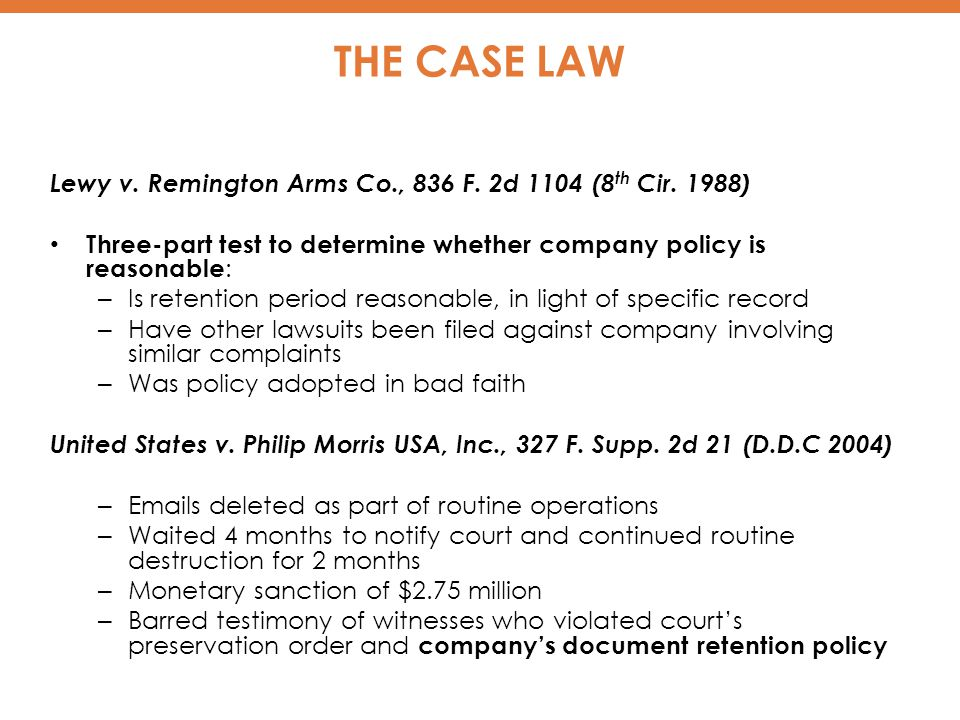 THE CASE LAW Lewy v. Remington Arms Co., 836 F. 2d 1104 (8 th Cir.