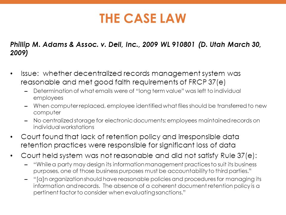 THE CASE LAW Phillip M.Adams & Assoc. v. Dell, Inc., 2009 WL 910801 (D.