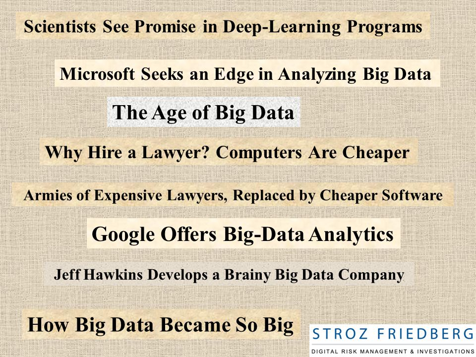 Scientists See Promise in Deep-Learning Programs Microsoft Seeks an Edge in Analyzing Big Data Jeff Hawkins Develops a Brainy Big Data Company Google Offers Big-Data Analytics The Age of Big Data How Big Data Became So Big Why Hire a Lawyer.