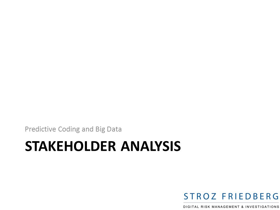 STAKEHOLDER ANALYSIS Predictive Coding and Big Data