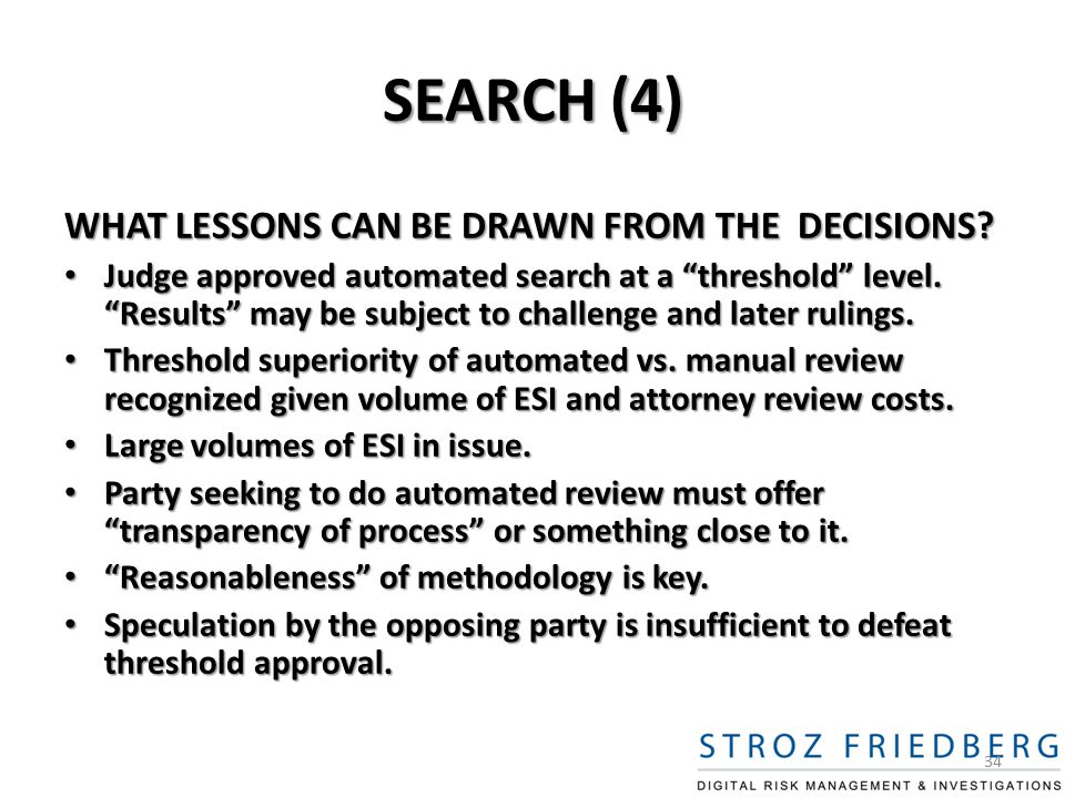 SEARCH (4) WHAT LESSONS CAN BE DRAWN FROM THE DECISIONS.