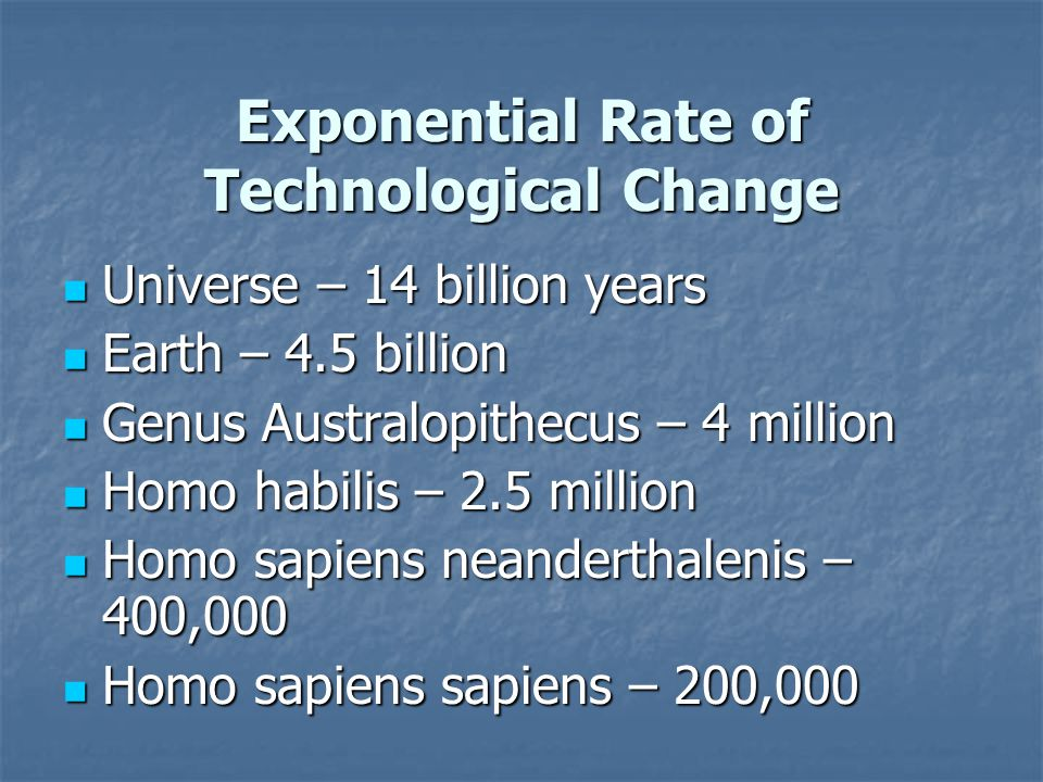 Exponential Rate of Technological Change Universe – 14 billion years Universe – 14 billion years Earth – 4.5 billion Earth – 4.5 billion Genus Australopithecus – 4 million Genus Australopithecus – 4 million Homo habilis – 2.5 million Homo habilis – 2.5 million Homo sapiens neanderthalenis – 400,000 Homo sapiens neanderthalenis – 400,000 Homo sapiens sapiens – 200,000 Homo sapiens sapiens – 200,000