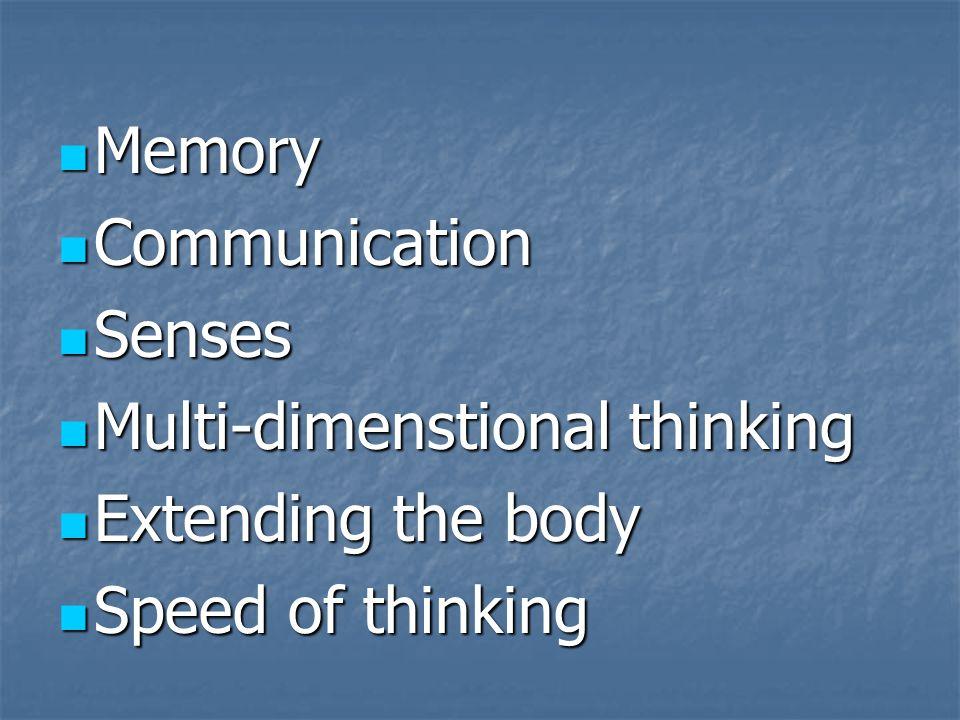 Memory Memory Communication Communication Senses Senses Multi-dimenstional thinking Multi-dimenstional thinking Extending the body Extending the body Speed of thinking Speed of thinking