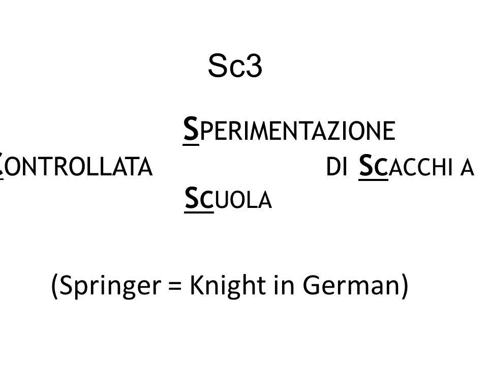 Sc3 S PERIMENTAZIONE C ONTROLLATA DI S CACCHI A S CUOLA (Springer = Knight in German)