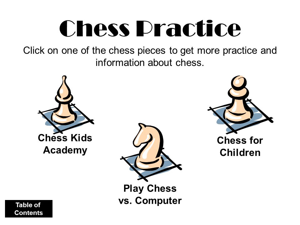 Chess Practice Chess Kids Academy Chess for Children Play Chess vs. Computer Click on one of the chess pieces to get more practice and information abo