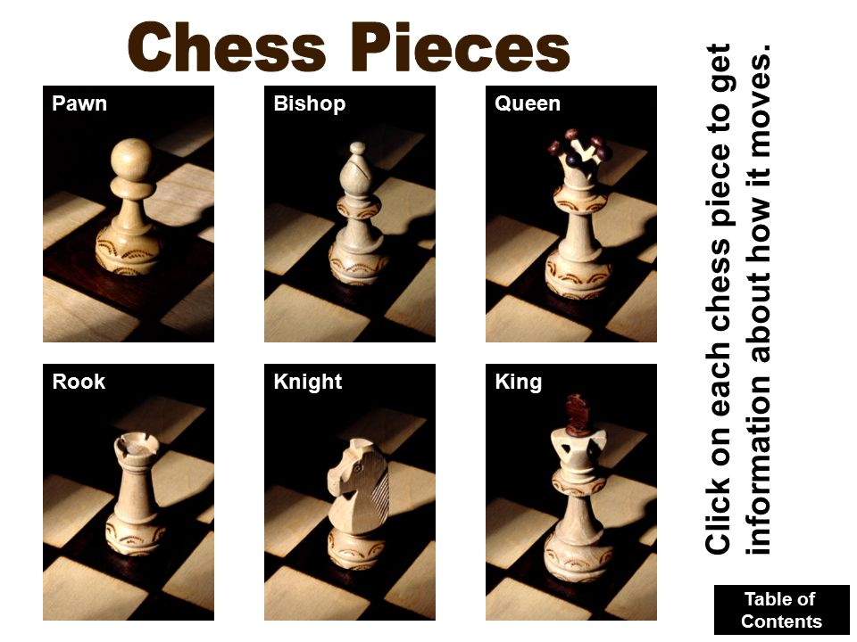 Click on each chess piece to get information about how it moves. PawnBishopQueen RookKnightKing Table of Contents