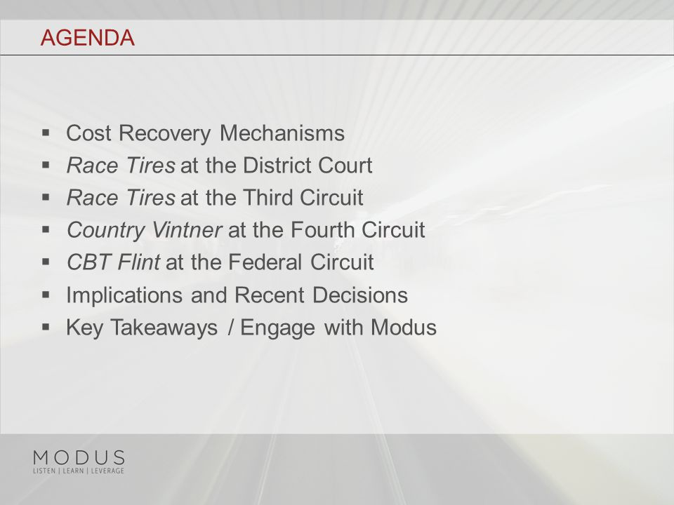 COST RECOVERY MECHANISMS, CONT.