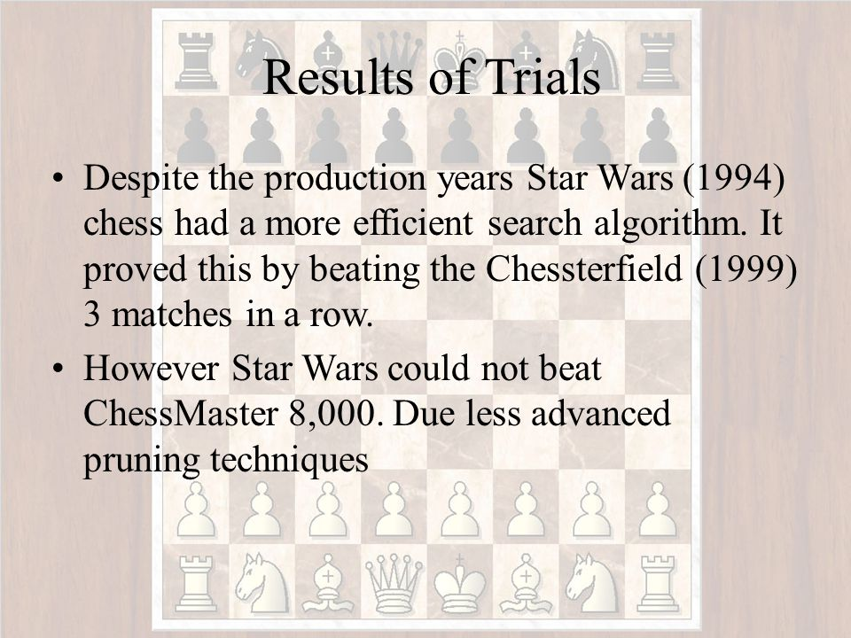 Players and their Algorithmic Strategies Search depth Level of play Chessterfield used minimax, evaluation function, cut-off test 5 plynovice Star Wars Chess minimax and alpha- beta search 10 plyexpert ChessMaster 8,000 minimax, alpha- beta search, plus additional pruning, database of openings and end games 14 ply grand master