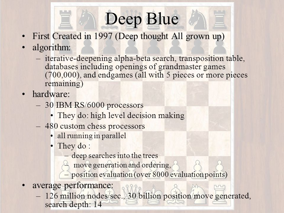 Deep Thought Built at Carnegie-Mellon University in the 1980s Example Deep Thought Code: #define min(x,y) ((x) < (y) .