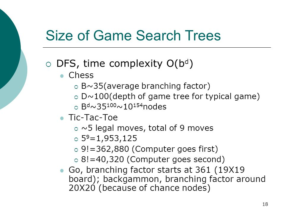 18 Size of Game Search Trees  DFS, time complexity O(b d ) Chess  B~35(average branching factor)  D~100(depth of game tree for typical game)  B d ~35 100 ~10 154 nodes Tic-Tac-Toe  ~5 legal moves, total of 9 moves  5 9 =1,953,125  9!=362,880 (Computer goes first)  8!=40,320 (Computer goes second) Go, branching factor starts at 361 (19X19 board); backgammon, branching factor around 20X20 (because of chance nodes)