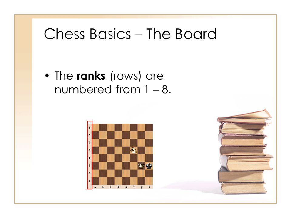 Chess Basics – The Board The ranks (rows) are numbered from 1 – 8.